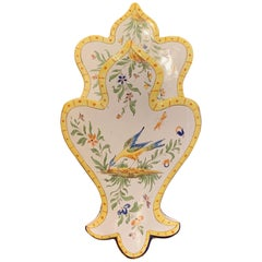 Mid-20th Century French Hand Painted Faience Wall Letter Holder