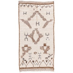 Vintage Tribal Ivory and Brown Moroccan Wool Scatter Rug