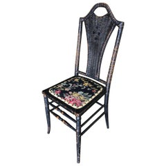 Black Victorian Southern Gothic Wicker Back Side Chair