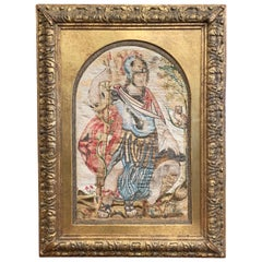 "Midcentury Italian ""Alexander the Great"" Tapestry in Carved Gilt Frame"