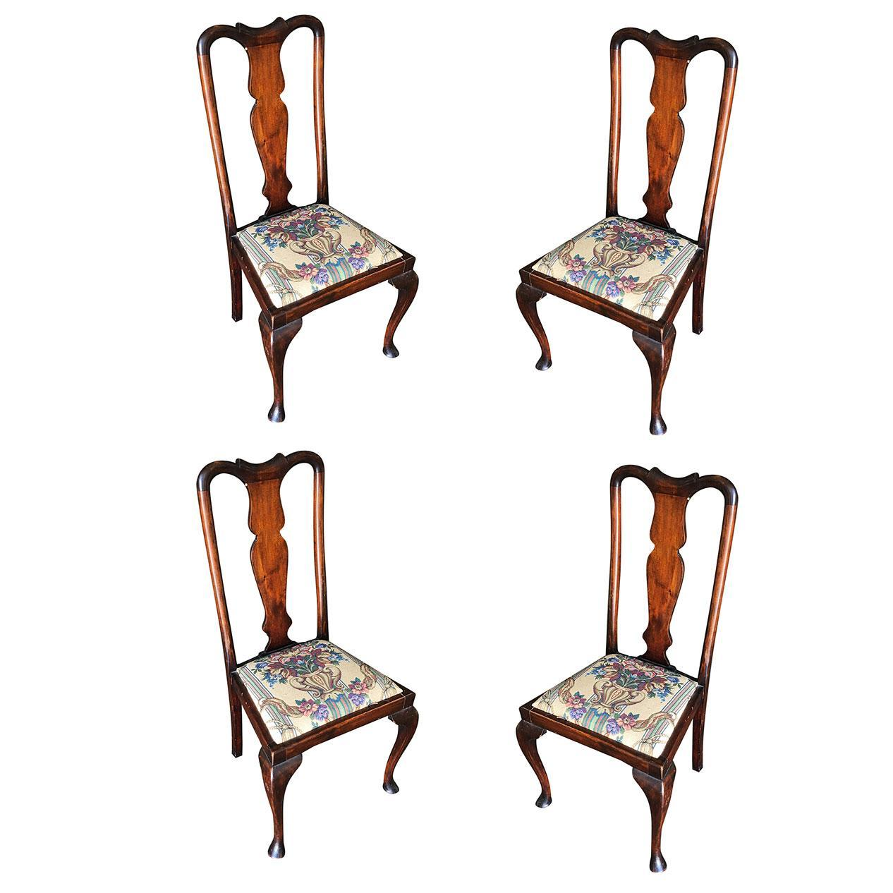 Pre-War Mahogany Art Deco Era Dining Room Chair Set of Four
