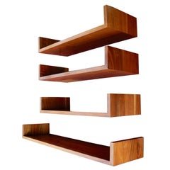 Mid-Century Modern Walnut Wall Hanging Shelves Designed by Mel Smilow