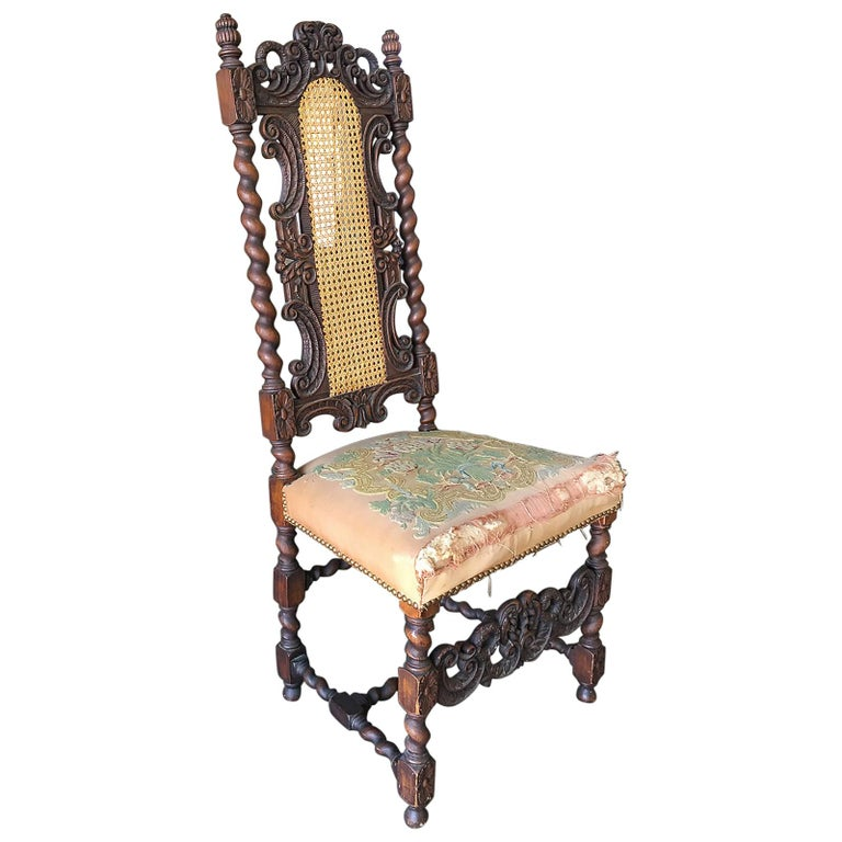 Victorian Hand Carved Oak Gothic Revival Side Throne Chair For