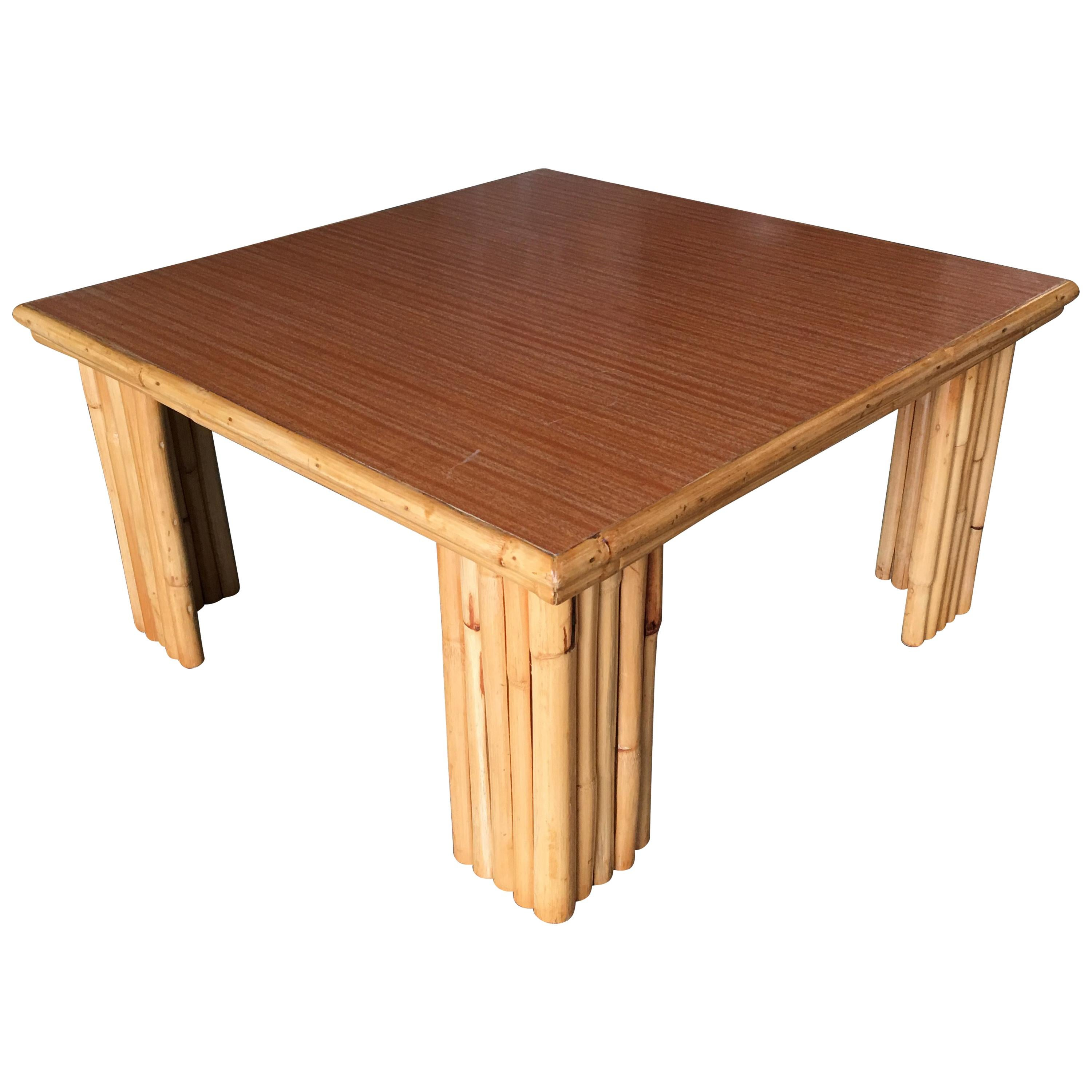 Extra Wide Rattan Coffee Table with Formica Top