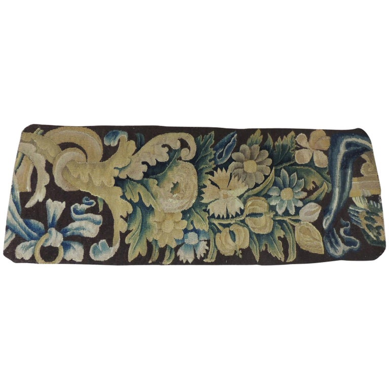 19th century Verdure Green and Gold Tapestry Fragment For Sale