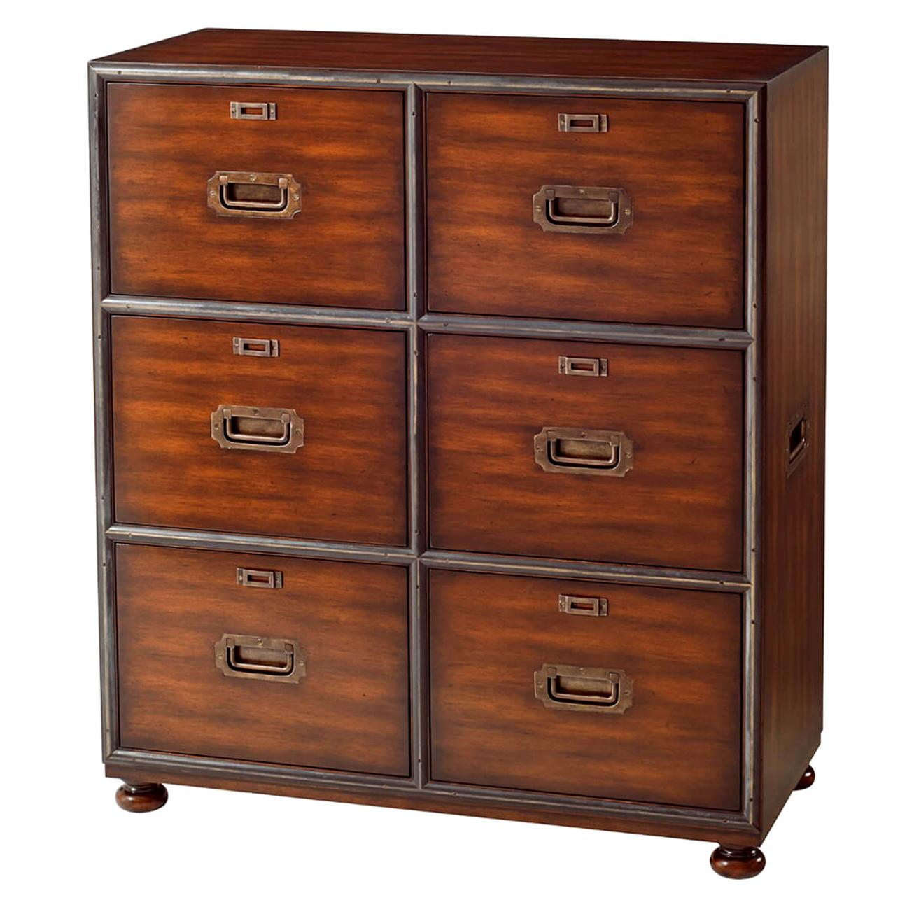 Campaign Style Six Drawer Chest