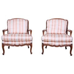 Baker Furniture French Provincial Louis XV Style Bergère Chairs, Pair