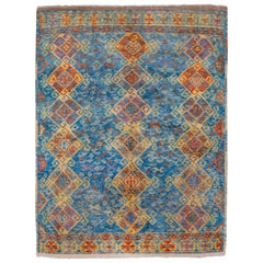 Colorful Modern Gabbeh Rug, Blue Field