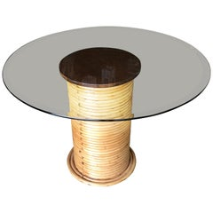 Stacked Rattan Dining Table with Round Glass Top