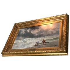 Painting 19th Century by Victor Philipsen Seascape Skies Stormy Day at the Beach
