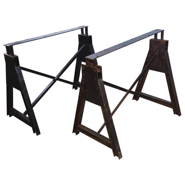 Industrial Metal Saw Horse Table Base For Sale