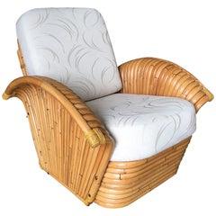 Restored Art Deco Rattan Fan Arm Lounge Chair