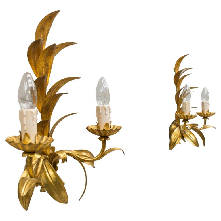 Pair of Hollywood Regency Double Wall Lights by Hans Kögl, Germany, 1970s For Sale