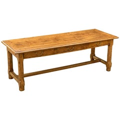 Large English Rectangular Trestle Table of Burled Ash