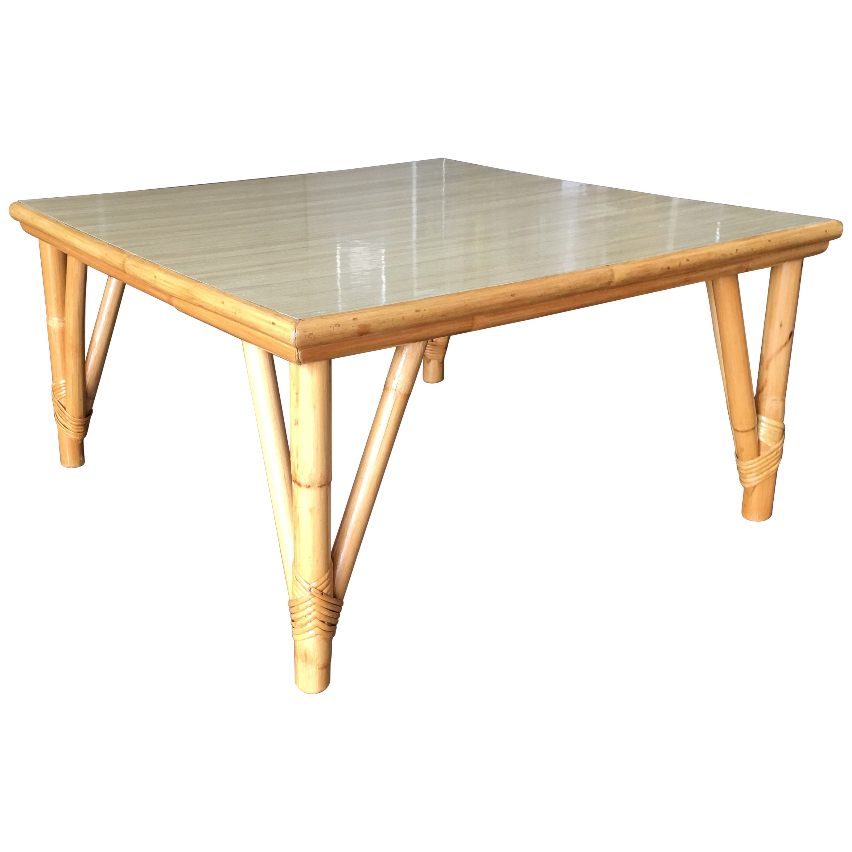 Large Square Rattan Coffee Table with Formica Top