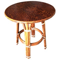 Restored Rattan 'Double Circle' Drink Table with Mahogany Top