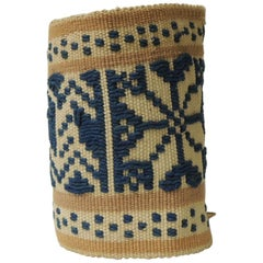 Antique Tribal Yellow and Blue Woven Turkish Sash