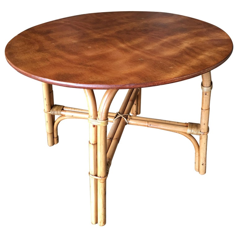 """Wicker Coffee Table Base: Restored Round """"x"""" Base Rattan Coffee Table With Oak Top"""
