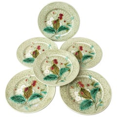Majolica Strawberries Plate Sarreguemines, circa 1880