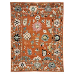 New Contemporary Oushak Rug with Hollywood Regency and Post-Modern Style