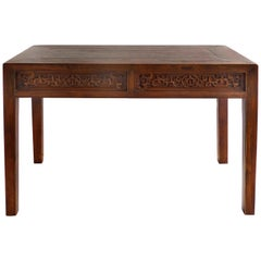 Chinese Carved Two-Drawer Console Table with Carved Apron