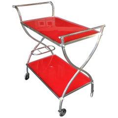 Jacques Adnet Inspired Chromed Aluminum Bar Cart, 1960