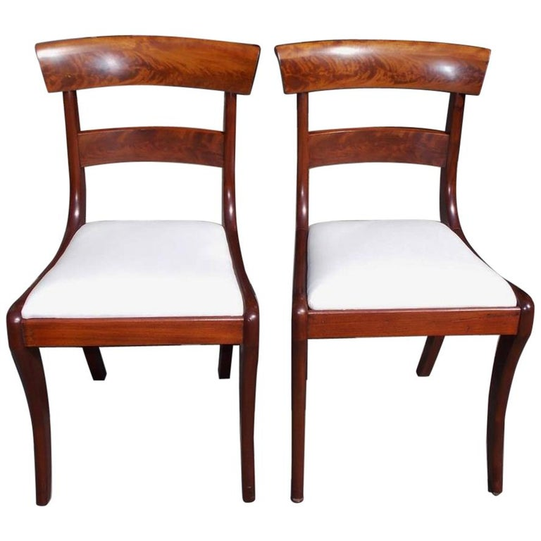 Pair of American Federal Mahogany Upholstered Side Chairs on Saber Legs, C. 1820 For Sale