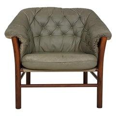 Green Leather Scandinavian Modern Lounge Chair by Göte Möbel, Sweden, 1970s