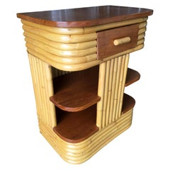 Paul Frankl Inspired Stacked Rattan Side Table with Floating Shelf