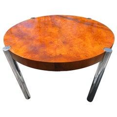 Fabulous Milo Baughman Style Round Burled Olive Wood Chrome Dining Table