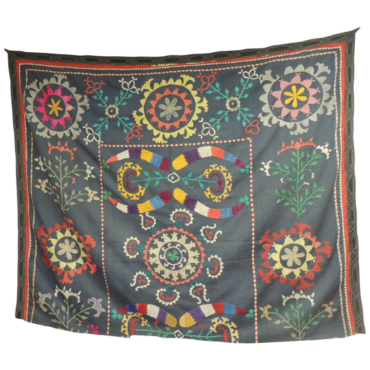 Large Colorful Floral Embroidered Vintage Suzani Panel