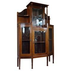 Antique and Solid Mahogany Jugendstil Sideboard or Drinks Cabinet, Beveled Glass