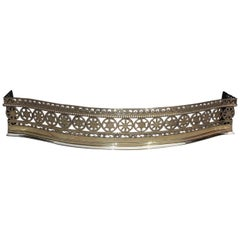 English Brass Serpentine Chased & Beaded Star Motif Fire Place Fender Circa 1760