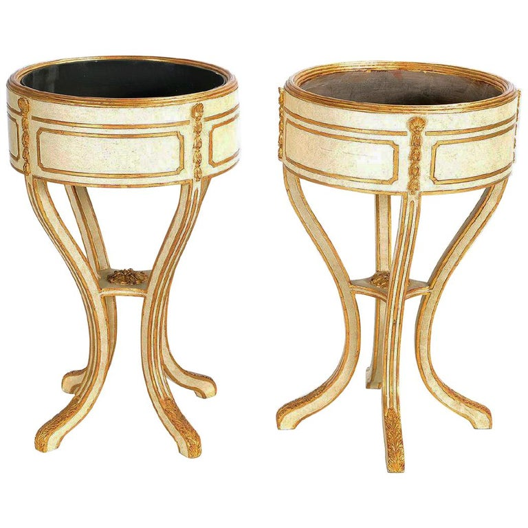 Pair Italian Neoclassical Style Painted Jardiniere For Sale