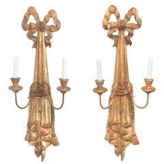 Giltwood Italian Neoclassic Wall Sconces