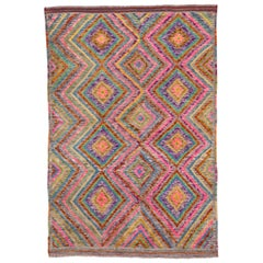 Modern Afghan Gabbeh Rug, Multicolored, Kids Room Rug, Girls Room Rug