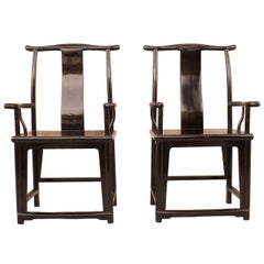 Pair of Refine Black Lacquer Armchairs