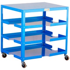 Industrial Rolling Paper, Board and Utility Cart, Refinished in Blue