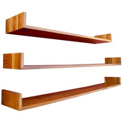 Mid-Century Modern Set of Walnut Hanging Book Shelves by Mel Smilow