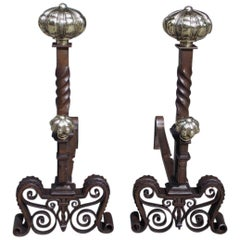 Pair of English Chased Melon Ball Bronze and Wrought Iron Andirons, Circa 1750