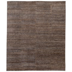 Contemporary Brown & Blue Wool and Silk Area Rug