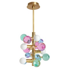 Globo Colored Lucite and Brass Five-Light Chandelier