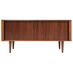 Mid-Century Modern Compact Tambour-Door Credenza by Barzilay
