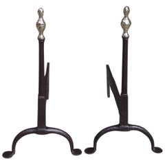 Pair of American Brass Flame Finial Lemon Top and Wrought Iron Andirons. C. 1770