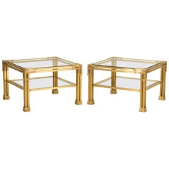 Pair of Solid Brass Coffee Tables Attributed to Valenti