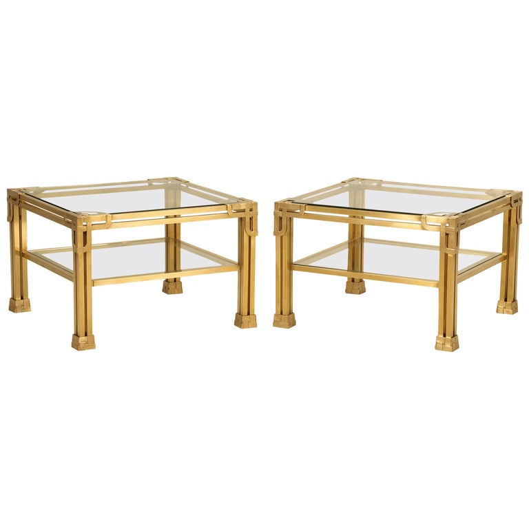 Artimeta Attributed Square Metal And Glass Coffee Table At: Pair Of Solid Brass Coffee Tables Attributed To Valenti