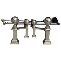 American Brass Banded Ball Top Andirons with Matching Tools, J. Hunneman C 1820