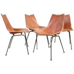 Original Midcentury Orange Paul McCobb Origami Fiberglass Chairs Set of 4 Rare