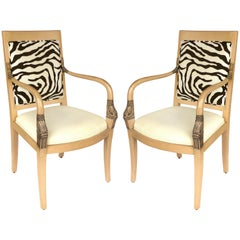 Armchairs of Blond Wood with Zebra Print Upholstery and Dolphin Carved Arms