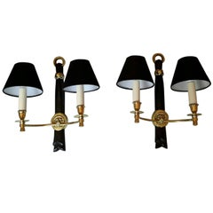 Neoclassical Pair of Sconces by Andre Arbus, France, 1950s